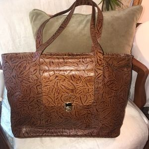 Cognac Tooled Leather Large Tote